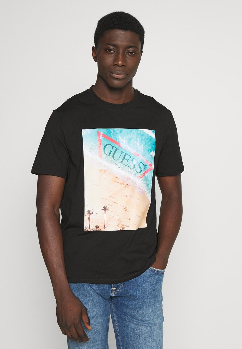 Guess - WATERLINE TEE - Print T-shirt - jet black