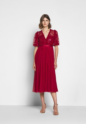 PATCHWORK BODICE BALLERINA DRESS EXCLUSIVE - Cocktailjurk - deep red