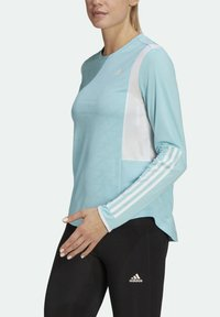 adidas Performance - OWN THE RUN 3-STRIPES RUNNING LONG-SLEEVE TOP - Long sleeved top - blue - 3