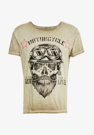 MT BEARDED BIKER - Triko s potiskem - military green