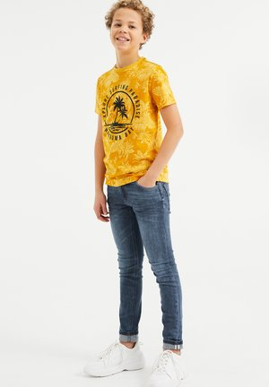 Print T-shirt - ochre yellow
