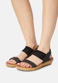 Skechers - BRIE - Platform sandals - black sparkle - 0