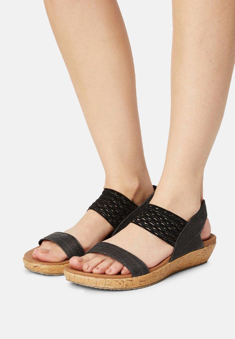 Skechers - BRIE - Platform sandals - black sparkle