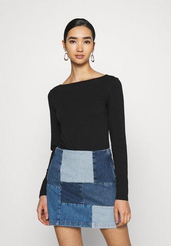 OPEN BACK BODYSUIT - Long sleeved top - black