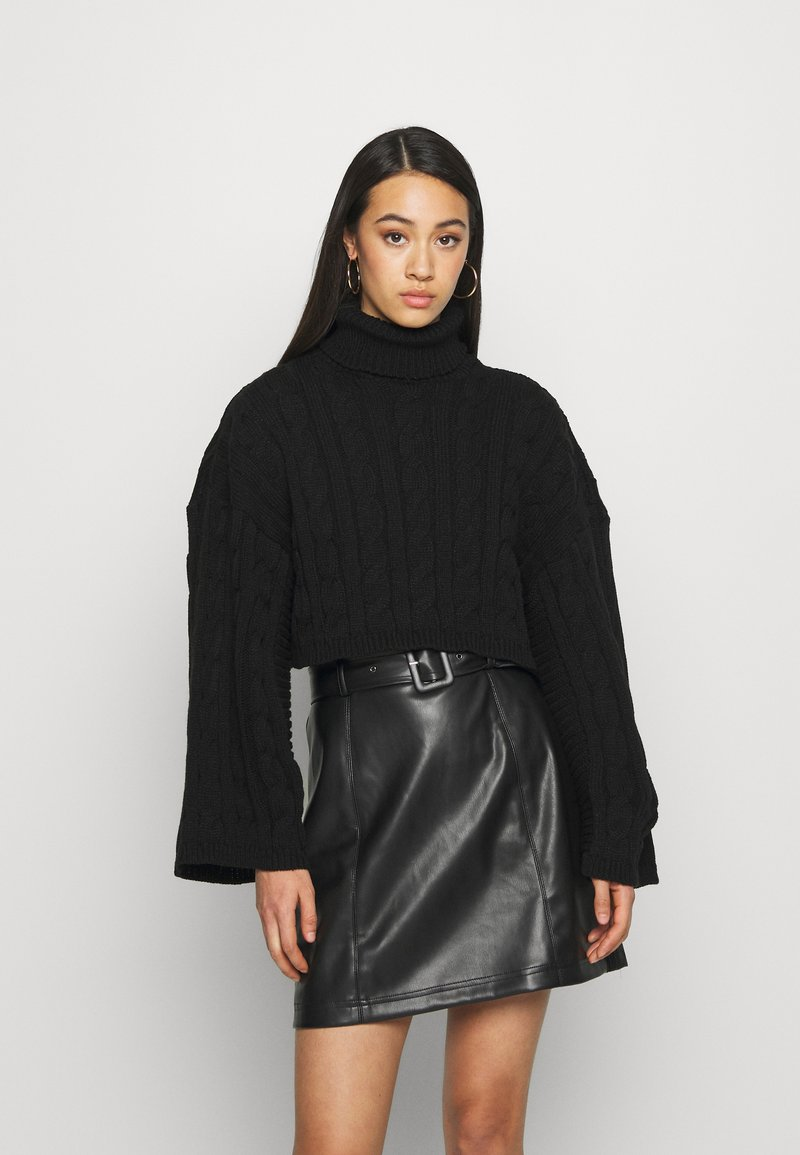 New Look - ROLL NECK WIDE SLEEVE CABLE - Svetr - black