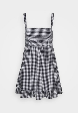 SMOCKED BABYDOLL SHORT DRESS - Kjole - navy gingham