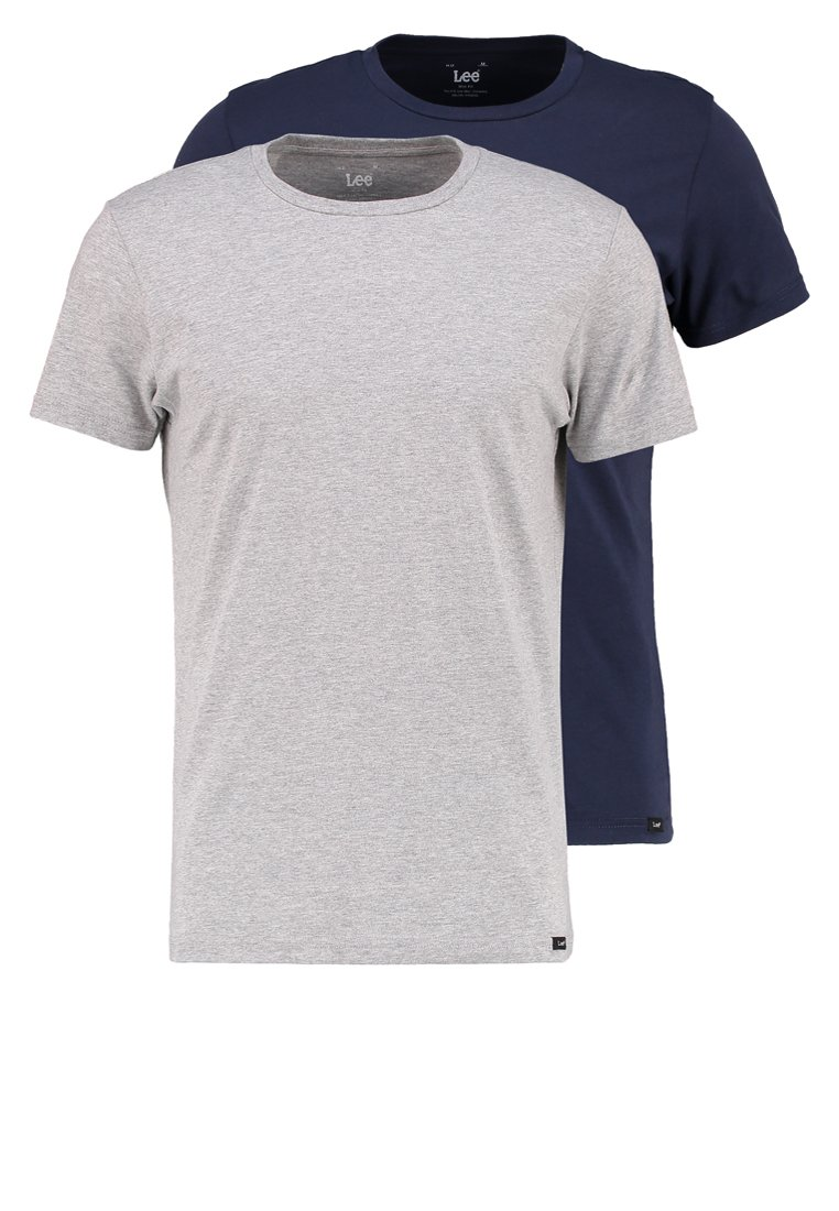 Lee - 2 PACK - T-shirt basic - blue/mottled grey