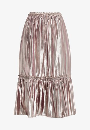ELISSA MIDI SKIRT RUFFLED HEM - A-line skirt - pearl