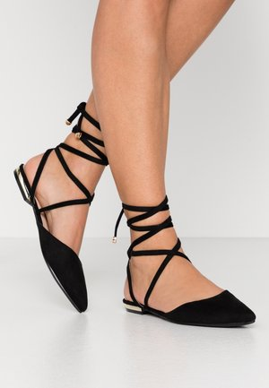 RUBIE - Ankle strap ballet pumps - black