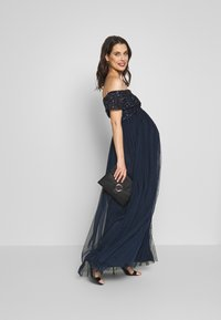 Maya Deluxe Maternity - OFF SHOULDER DELICATE SEQUIN DRESS - Vestido de fiesta - navy - 1