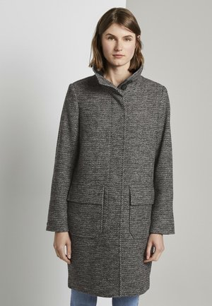 Short coat - black white structure twill