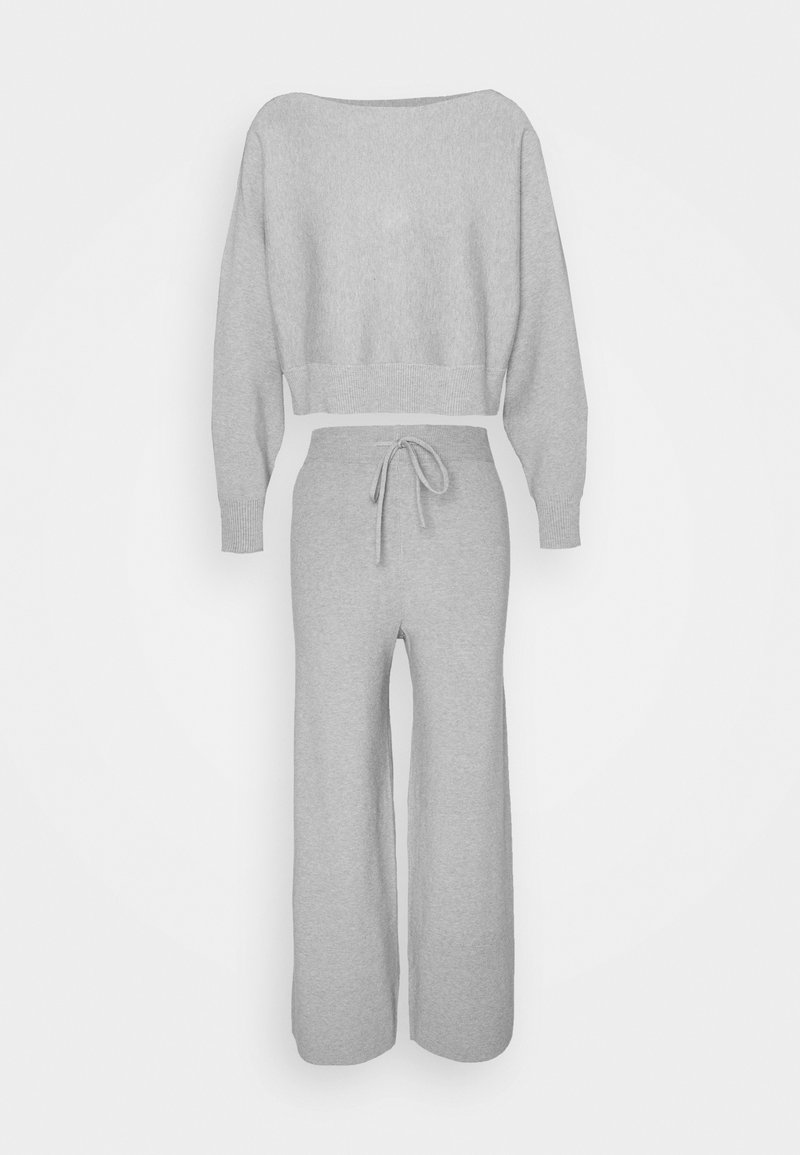 Even&Odd - SET STRICK - Jumper & Wide leg trouser - Svetr - mottled light grey