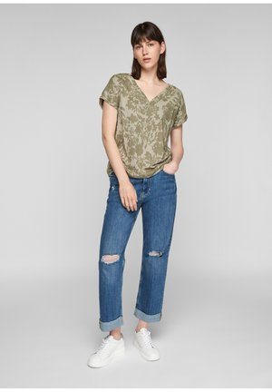 Print T-shirt - summer khaki aop