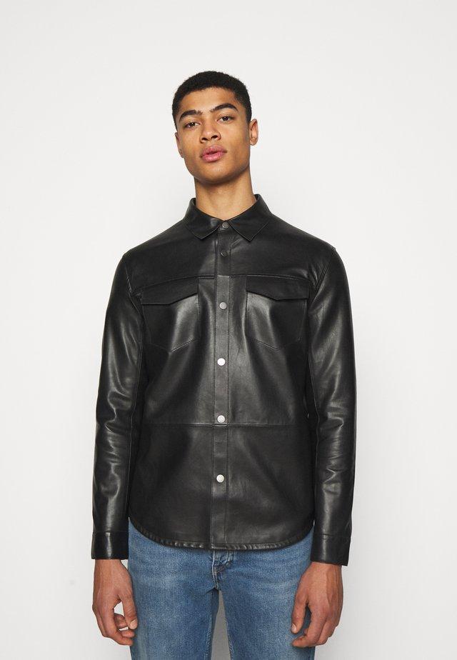 LEONARDOS - Leather jacket - black