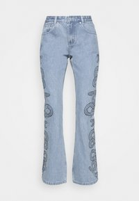Milk it - SIDE SEAM SNAKE PRINT - Flared Jeans - light blue - 5