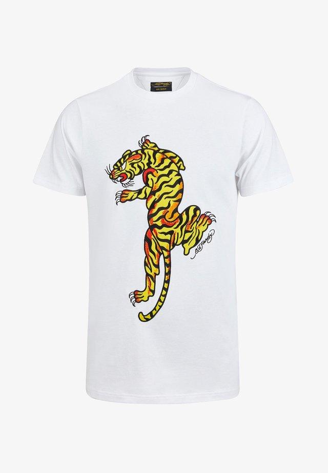 TIGER GROWL T-SHIRT - T-shirt print - white