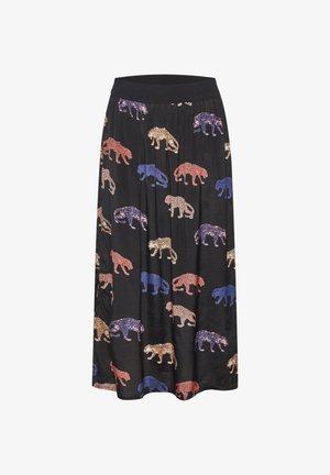 KASHEETA  - Maxi skirt - black deep -different leopards