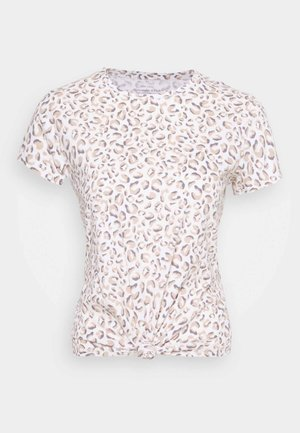 KNOTTED MIDI LEOPARD - T-shirts med print - white