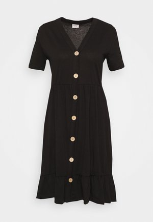 JDYBERRY LIFE BUTTONTHROUG DRESS - Jerseykjole - black