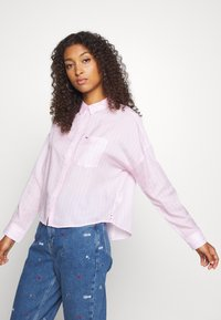 Tommy Jeans - BOLD STRIPE - Button-down blouse - romantic pink/white - 4
