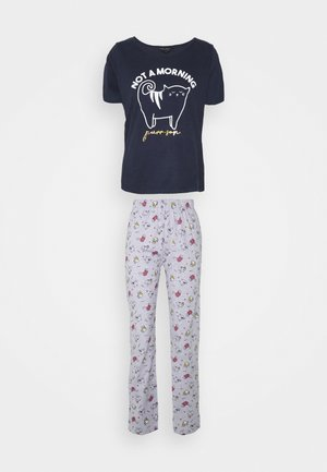 MORNINGS SLOGAN CAT FOLDED - Pyjama set - navy