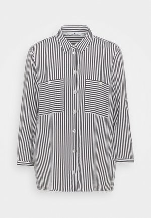 BLOUSE PRINTED STRIPE - Button-down blouse - grey