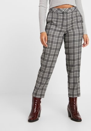 MOLLY CHECK CIGARETE TROUSERS - Trousers - grey