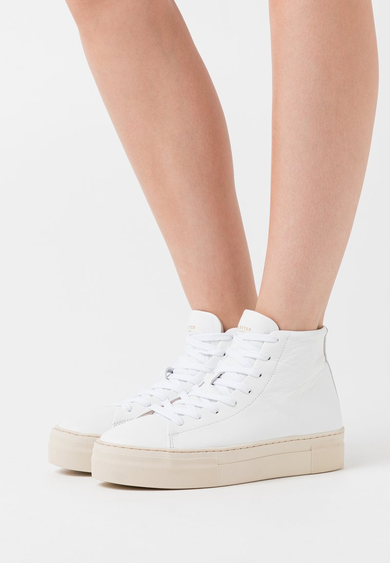 Selected Femme - SLFHAILEY HIGHTOP TRAINER - High-top trainers - white