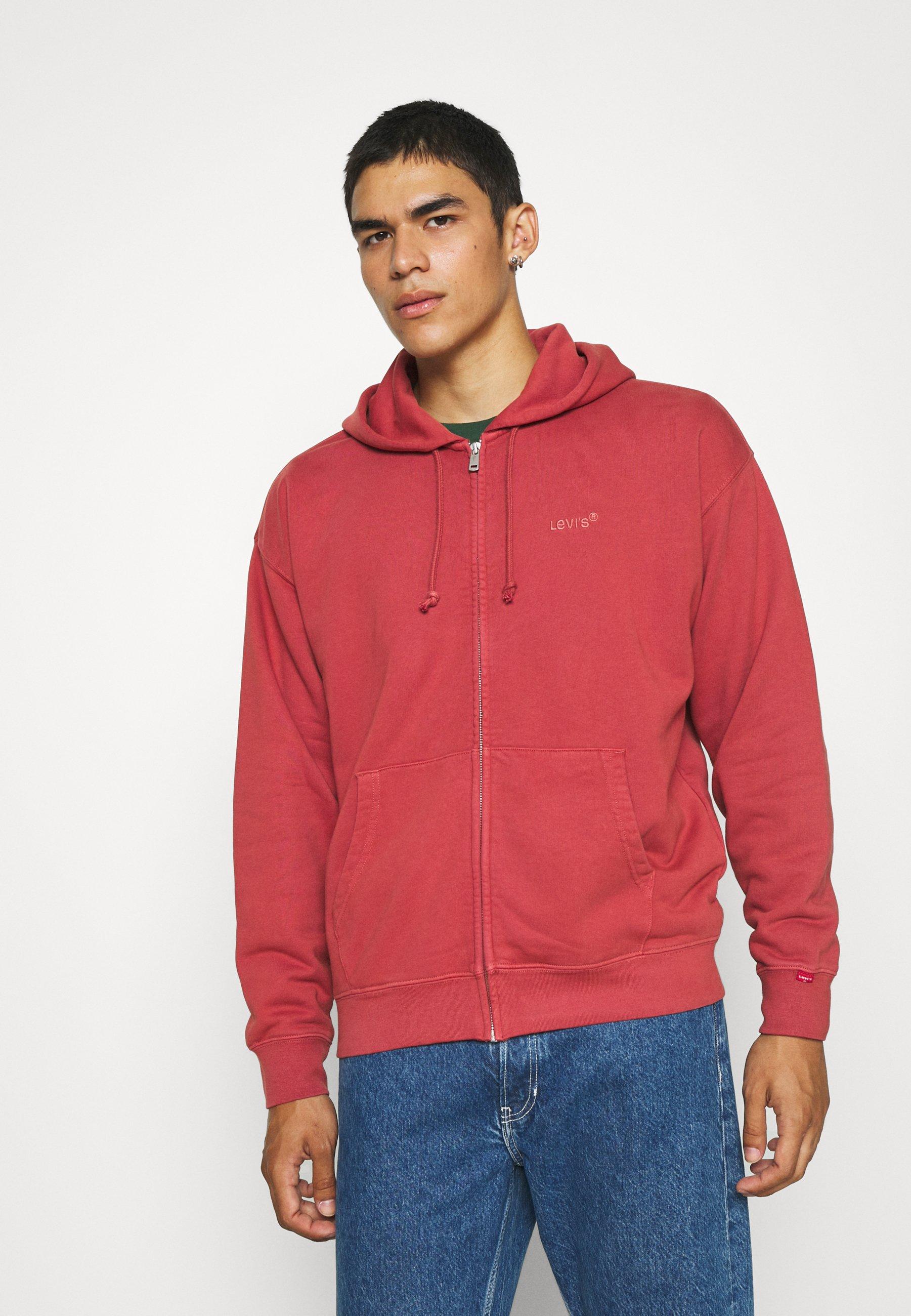 Men RED TAB ZIP HOODY - Zip-up sweatshirt