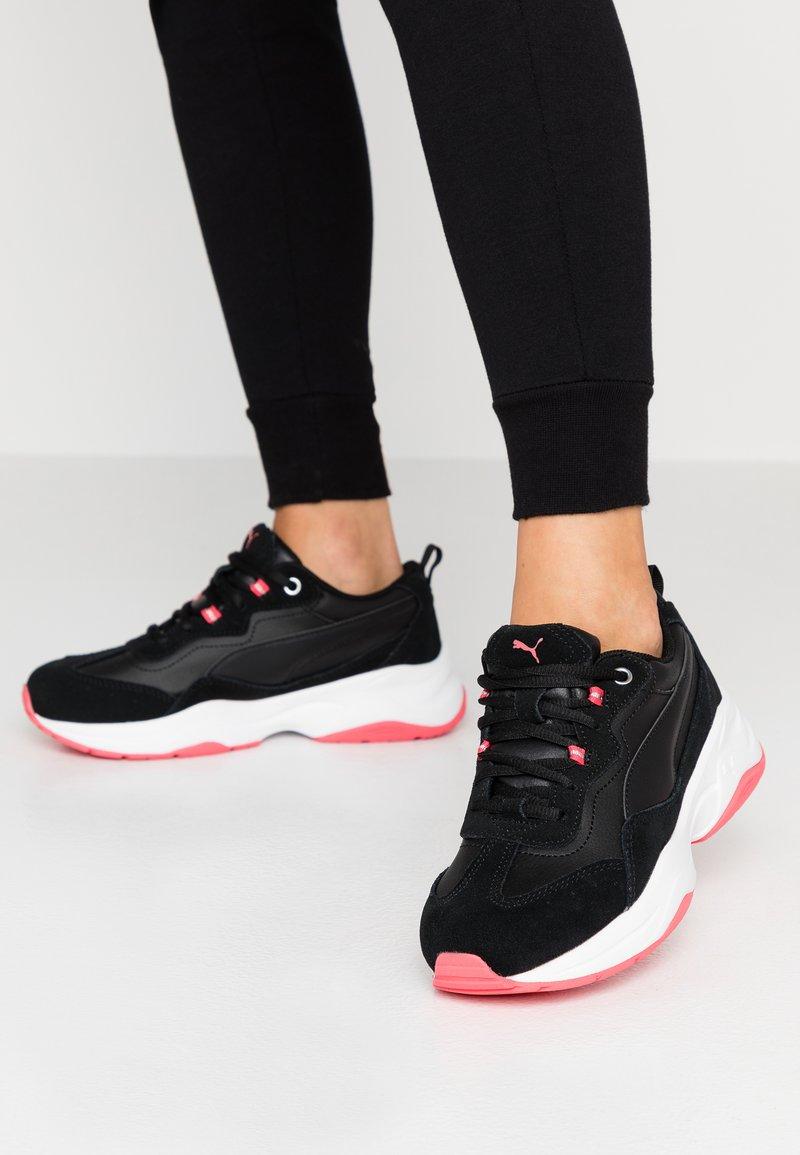 Puma - CILIA - Sneakers - black/calypso coral/silver/white