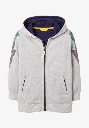 Zip-up hoodie - grau meliert, regenbogenfarbener blitz