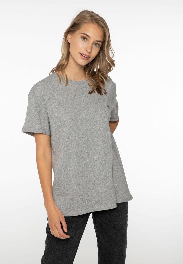 POLLY - Jednoduché triko - dark grey melee