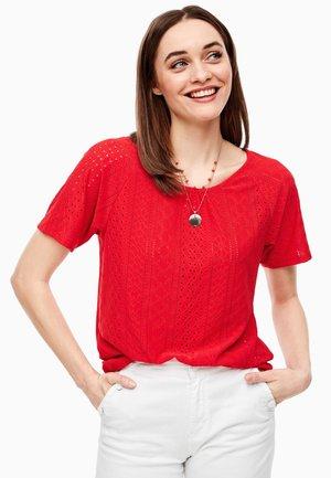 JACQUARD-SHIRT MIT LOCHMUSTER - Print T-shirt - red