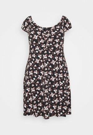 RUCHED FRONT BARDOT DRESS - Jersey dress - black