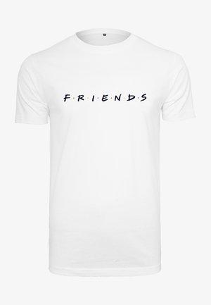 HERREN FRIENDS LOGO EMB TEE - Printtipaita - white