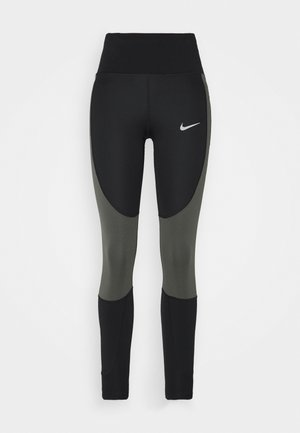 RUN EPIC  - Legginsy - black/newsprint/reflect black