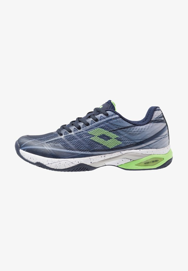 MIRAGE 300 CLY - Clay court tennis shoes - navy blue/green neo/silver metal