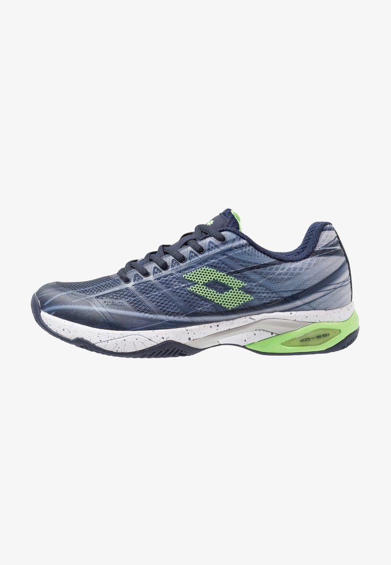 Lotto - MIRAGE 300 CLY - Zapatillas de tenis para tierra batida - navy blue/green neo/silver metal