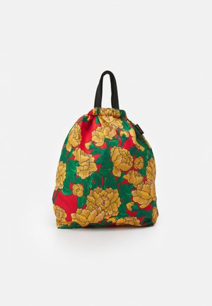 PEONIES DRAWSTRING BAG - Reppu - red