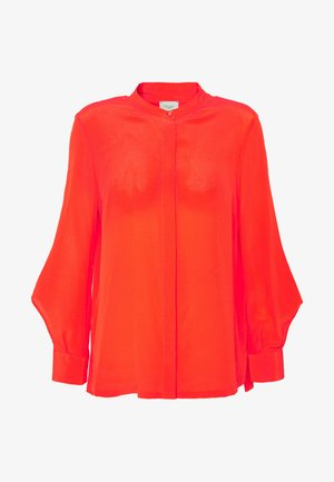 DELICATE SLIT BLOUSE SLIGHTLY RELAXED FIT VOLUMINOUS - Button-down blouse - flashy coral