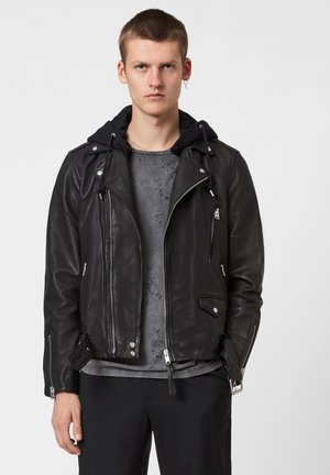 RENZO BIKER - Leather jacket - black