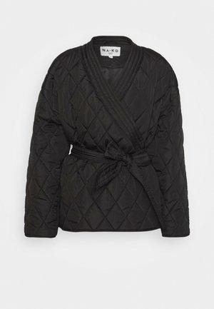 QUILTED KIMONO JACKET - Light jacket - black
