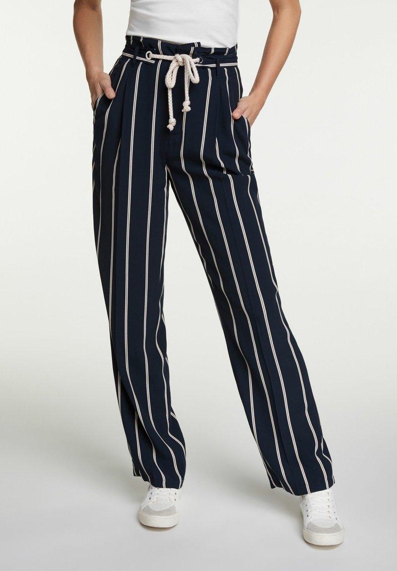 Oui - Trousers - dark blue white