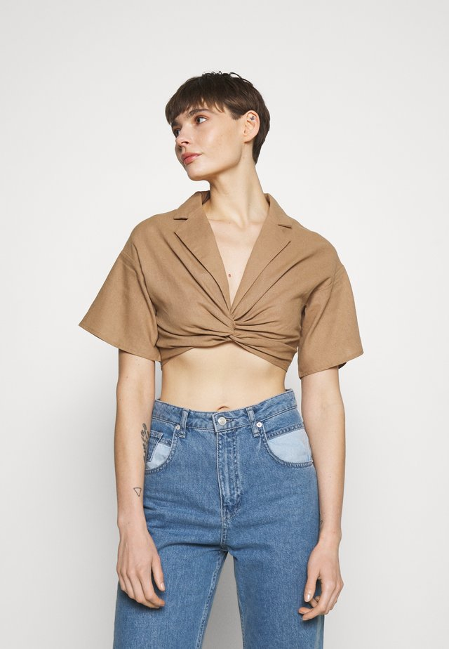 COLLARED PLUNGE TWIST FRONT  - Blouse - brown