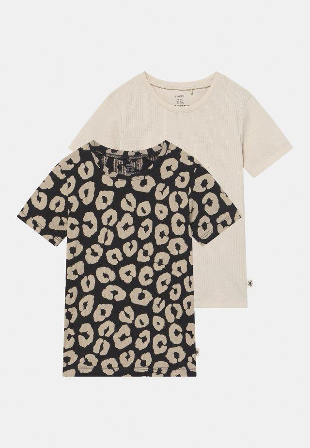 LEO 2 PACK UNISEX - T-shirt imprimé - off black