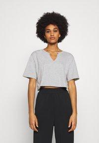 Nly by Nelly - BASIC V CUT TEE - Print T-shirt - grey melange - 0