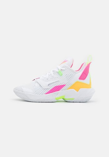 WHY NOT ZER0.4 BG UNISEX - Basketball shoes - white/citron pulse/hyper pink/lime glow