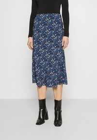 Glamorous - CARE FLORAL PRINTED MIDI SKIRT - A-line skirt - navy blue/ orange - 0