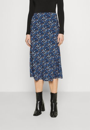 CARE FLORAL PRINTED MIDI SKIRT - Áčková sukně - navy blue/ orange