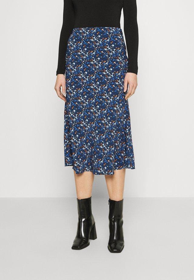 CARE FLORAL PRINTED MIDI SKIRT - A-line skirt - navy blue/ orange